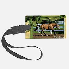 Buckskin Quarter Horse Christmas Luggage Tag