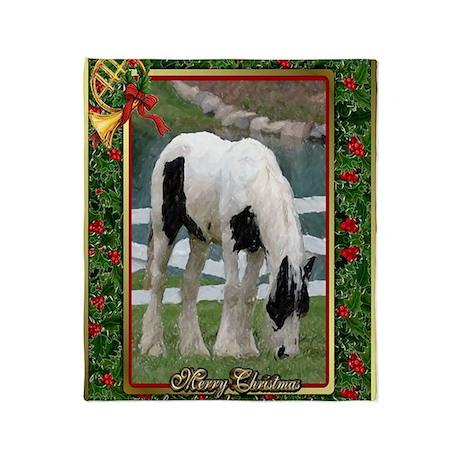 Gypsy Vanner Horse Christmas Throw Blanket
