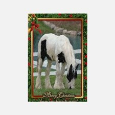 Gypsy Vanner Horse Christmas Rectangle Magnet