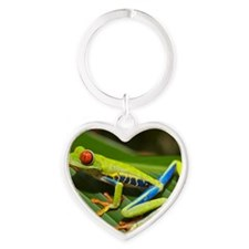 Red_eyed_tree_frog_edit2 Heart Keychain