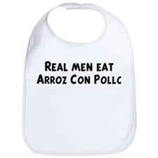 Men eat Arroz Con Pollo Bib
