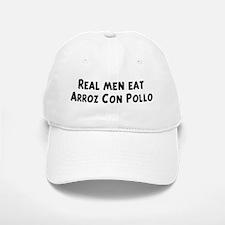 Men eat Arroz Con Pollo Baseball Baseball Cap
