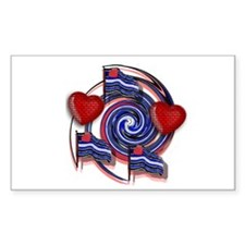 LEATHER SWIRL/FLAGS/HEARTS Rectangle Decal