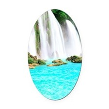 Tropical Waterfall Oval Car Magnet