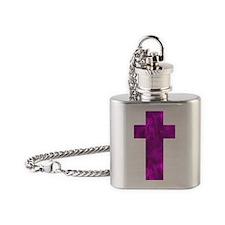 Purple Catholic Crucifix 32 Flask Necklace