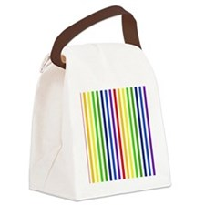 Retro Rainbow Stripes Canvas Lunch Bag