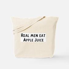 Men eat Apple Juice Tote Bag