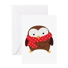 Christmas Owl with Red Scarf Greeting Cards