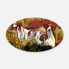 Brittany spaniels in the field Oval Car Magnet