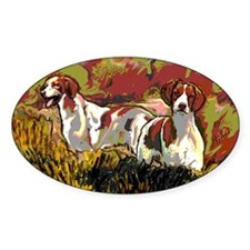 Brittany spaniels in the field Decal
