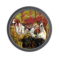 Brittany spaniels in the field Wall Clock