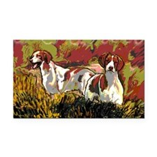 Brittany spaniels in the fiel Rectangle Car Magnet