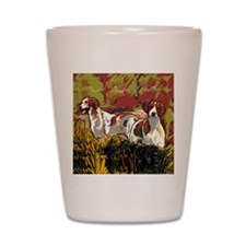 Brittany spaniels in the field Shot Glass