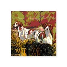 "Brittany spaniels in the fi Square Sticker 3"" x 3"""