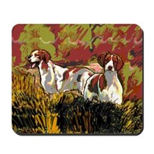 Brittany spaniels in the field Mousepad