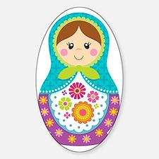 Matryoshka Girl, Blue Sticker (Oval)