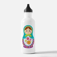 Matryoshka Girl, Blue Sports Water Bottle