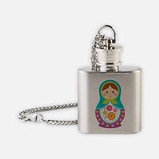 Matryoshka Girl, Blue Flask Necklace