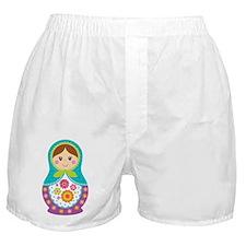 Matryoshka Girl, Blue Boxer Shorts
