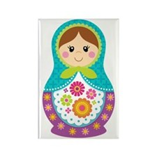 Matryoshka Girl, Blue Rectangle Magnet