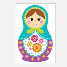Matryoshka Girl, Blue Postcards (Package of 8)