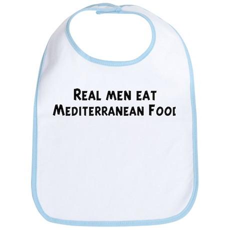 Men eat Mediterranean Food Bib