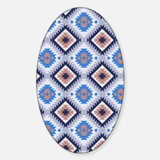 Blue and Brown Aztec Pattern Sticker (Oval)