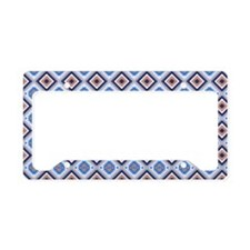 Blue and Brown Aztec Pattern License Plate Holder
