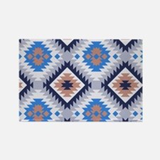 Blue and Brown Aztec Pattern Rectangle Magnet