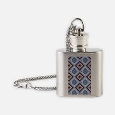 Blue and Brown Aztec Pattern Flask Necklace