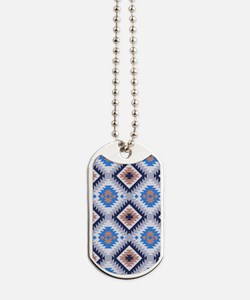 Blue and Brown Aztec Pattern Dog Tags