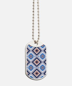 Blue and Brown Aztec Dog Tags