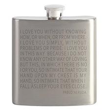 Neruda Quote- Blue Gray Flask