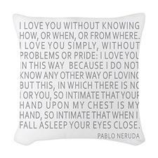 Neruda Quote- Blue Gray Woven Throw Pillow