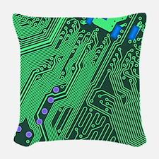 Circuit Board Woven Throw Pillow