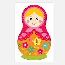 Matroyshka Girl, Pink Postcards (Package of 8)