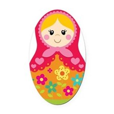 Matroyshka Girl, Pink Oval Car Magnet