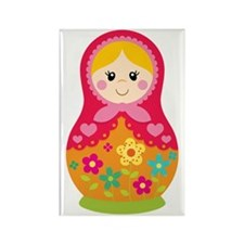 Matroyshka Girl, Pink Rectangle Magnet