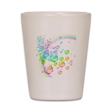 colored bubbles with rainbow2 Shot Glass
