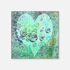 """bubbles green heart Square Sticker 3"""" x 3"""""""
