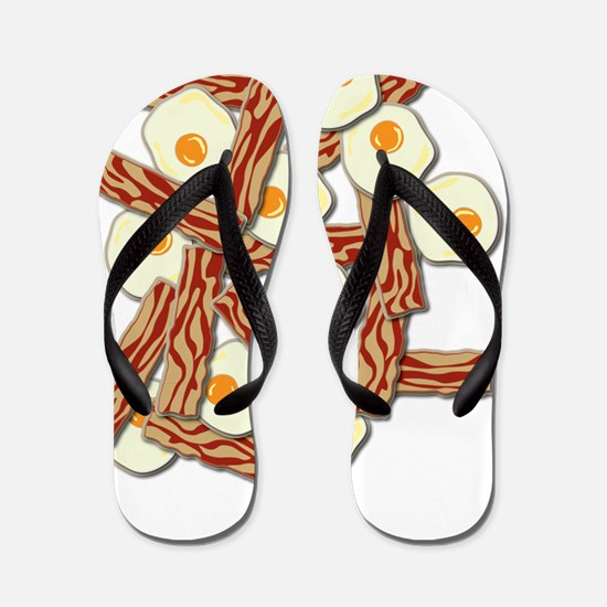 Bacon and Eggs Pattern Flip Flops