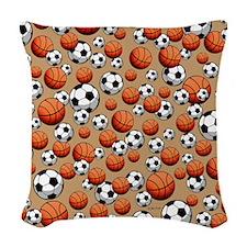 Soccer & Basketball Woven Throw Pillow