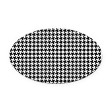 Houndstooth  White Oval Car Magnet