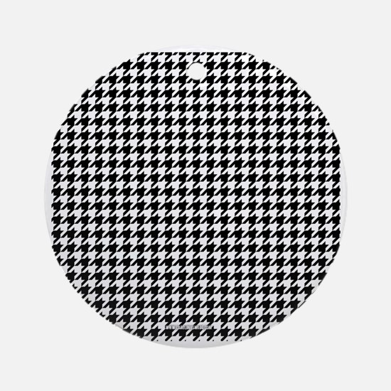 Houndstooth  White Round Ornament