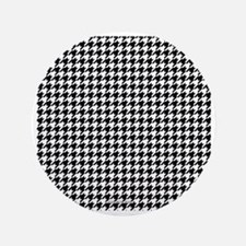 "Houndstooth  White 3.5"" Button"