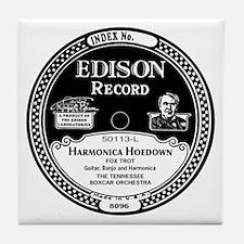 Harmonica Hoedown Edison Record label Tile Coaster