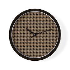 Houndstooth  Khaki Wall Clock