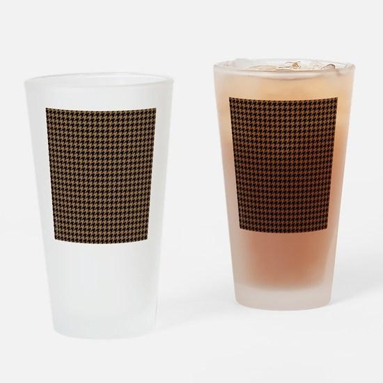 Houndstooth   Khaki Drinking Glass