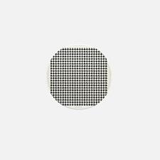 Houndstooth  White Mini Button