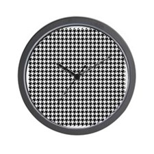 Houndstooth  White Wall Clock